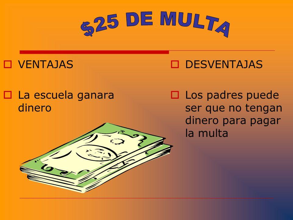 $25 DE MULTA VENTAJAS La escuela ganara dinero DESVENTAJAS