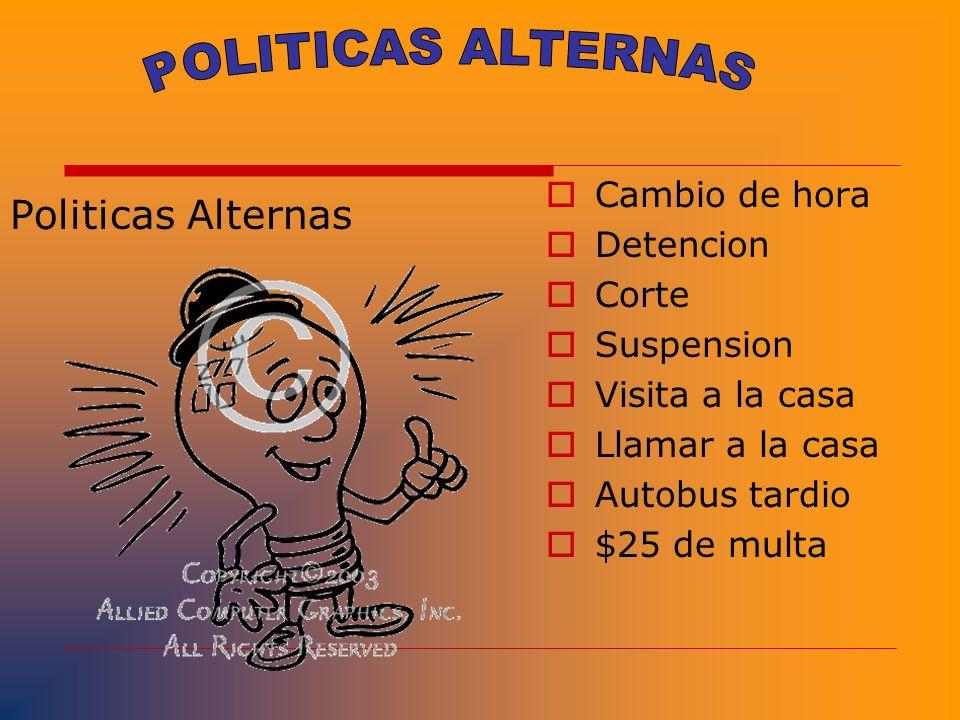 POLITICAS ALTERNAS Politicas Alternas Cambio de hora Detencion Corte