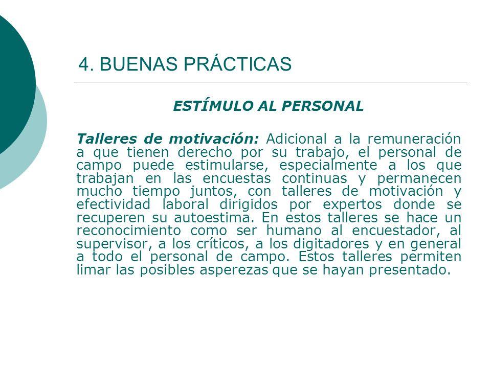 4. BUENAS PRÁCTICAS ESTÍMULO AL PERSONAL
