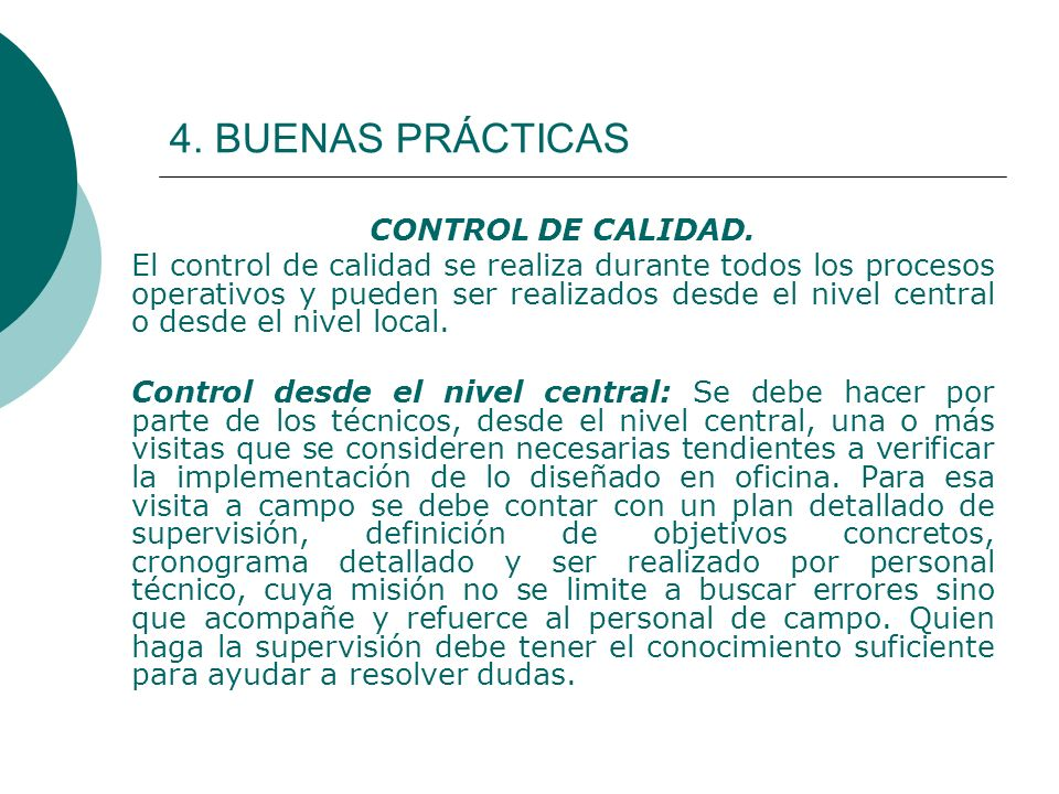 4. BUENAS PRÁCTICAS CONTROL DE CALIDAD.