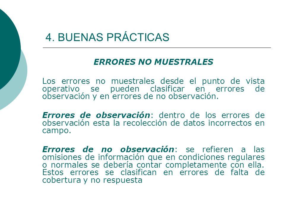 4. BUENAS PRÁCTICAS ERRORES NO MUESTRALES