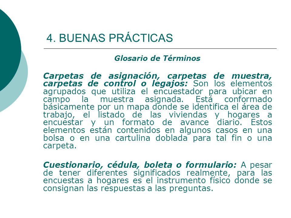 4. BUENAS PRÁCTICAS Glosario de Términos.