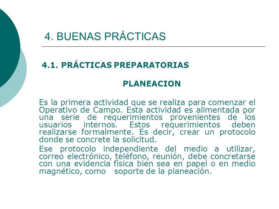 4. BUENAS PRÁCTICAS 4.1. PRÁCTICAS PREPARATORIAS PLANEACION