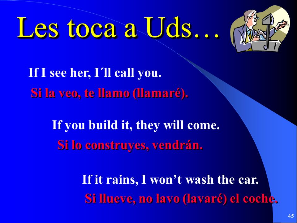 Les toca a Uds… If I see her, I´ll call you.