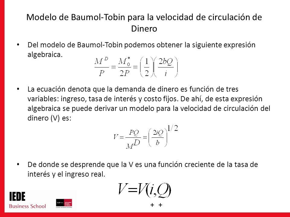 Modelo de Baumol-Tobin para la velocidad de circulación de Dinero