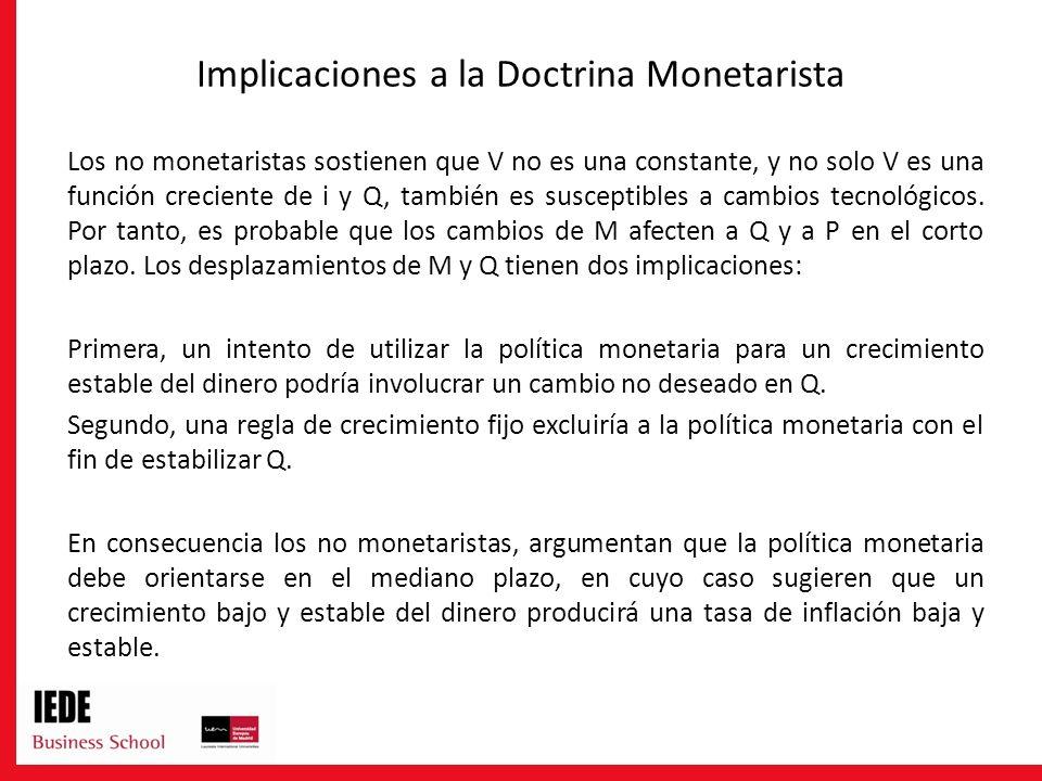 Implicaciones a la Doctrina Monetarista