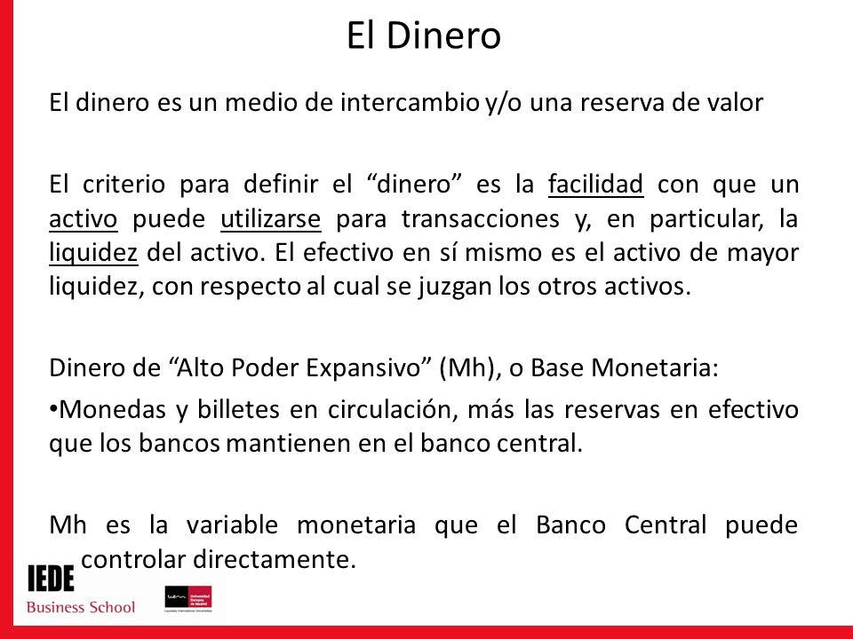 El Dinero El dinero es un medio de intercambio y/o una reserva de valor.