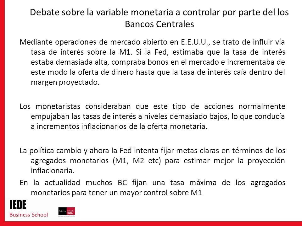 Debate sobre la variable monetaria a controlar por parte del los Bancos Centrales