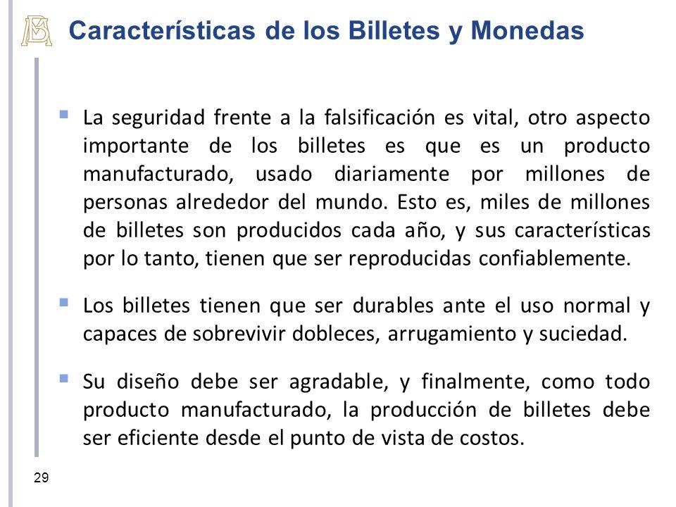 Características de los Billetes y Monedas