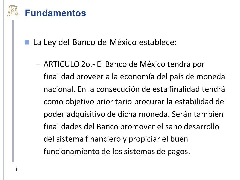 La Ley del Banco de México establece: