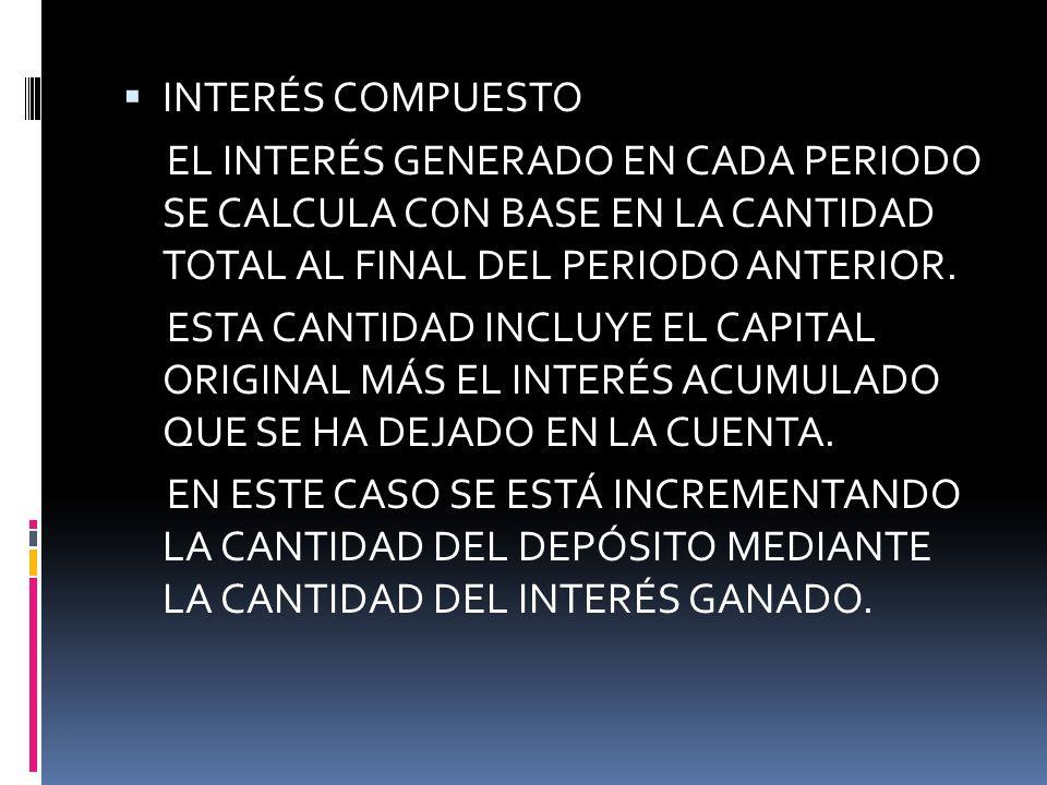 INTERÉS COMPUESTO EL INTERÉS GENERADO EN CADA PERIODO SE CALCULA CON BASE EN LA CANTIDAD TOTAL AL FINAL DEL PERIODO ANTERIOR.