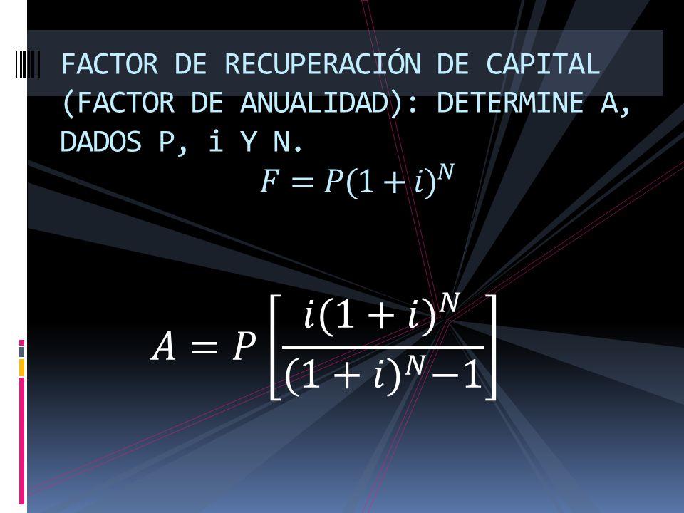 FACTOR DE RECUPERACIÓN DE CAPITAL (FACTOR DE ANUALIDAD): DETERMINE A, DADOS P, i Y N. 𝐹=𝑃( 1+𝑖) 𝑁