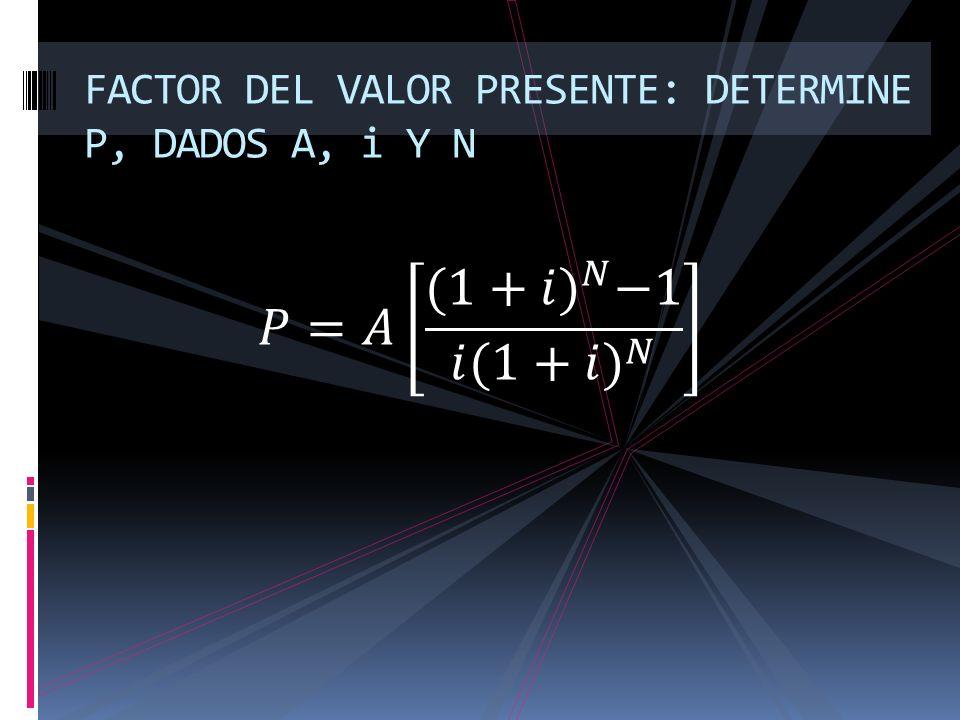 FACTOR DEL VALOR PRESENTE: DETERMINE P, DADOS A, i Y N