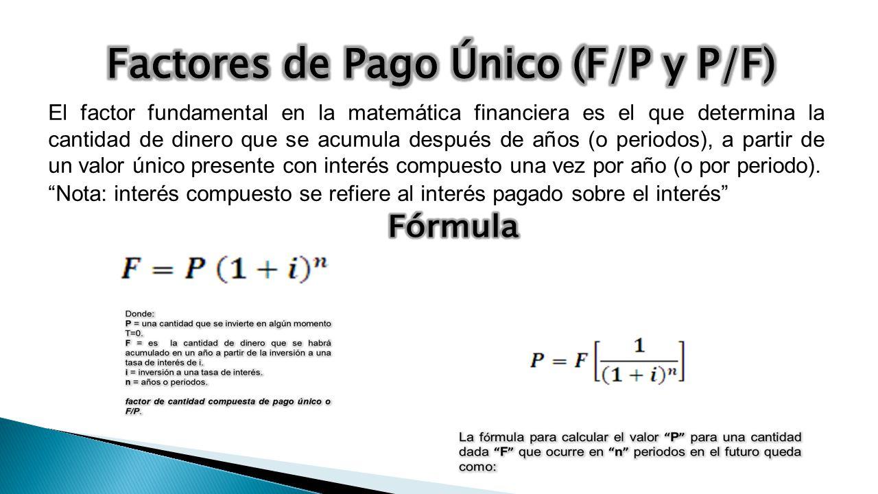 Factores de Pago Único (F/P y P/F)