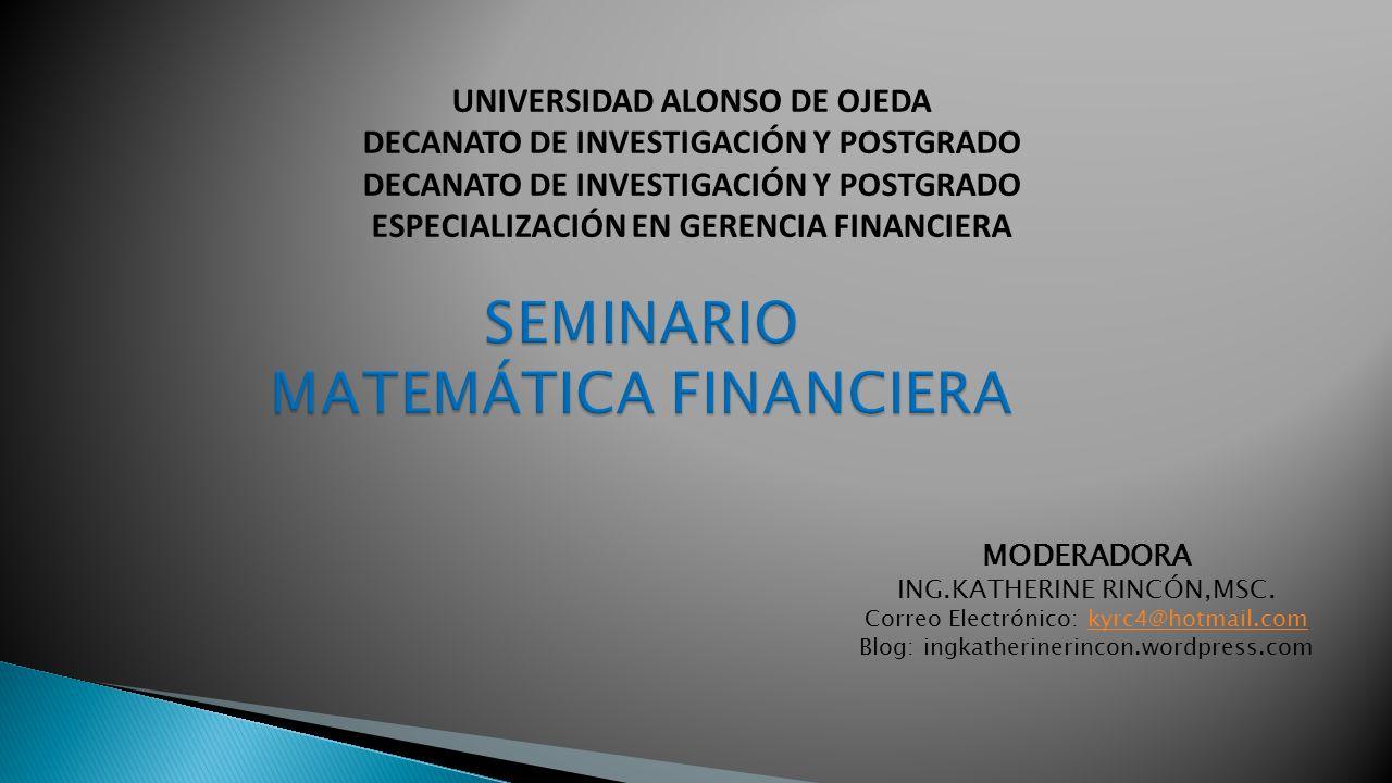 SEMINARIO MATEMÁTICA FINANCIERA
