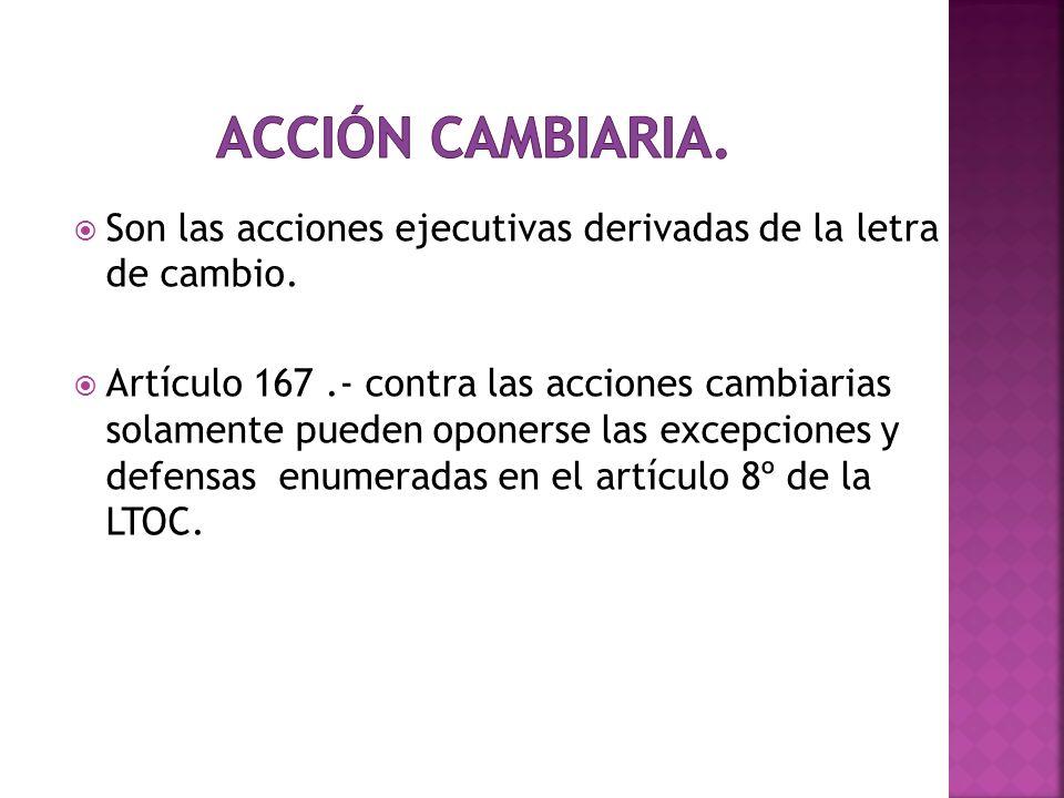 Acción Cambiaria. Son las acciones ejecutivas derivadas de la letra de cambio.
