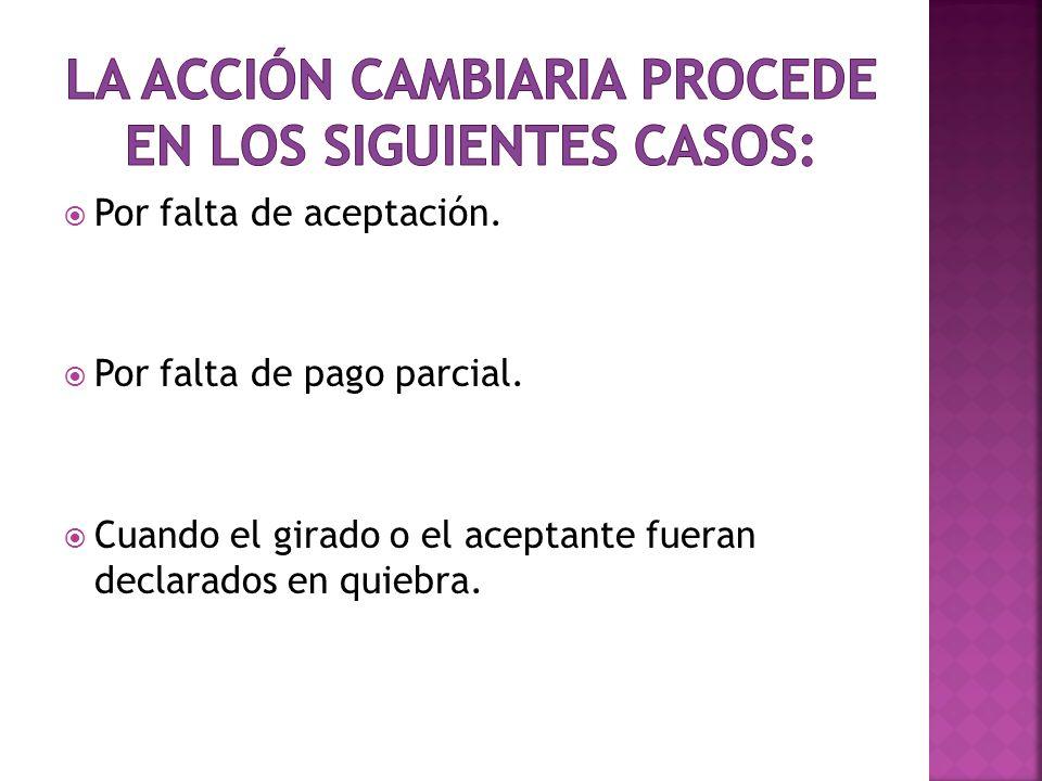 La acción cambiaria procede en los siguientes casos: