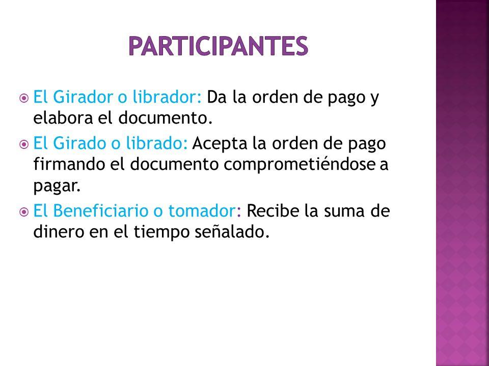 Participantes El Girador o librador: Da la orden de pago y elabora el documento.