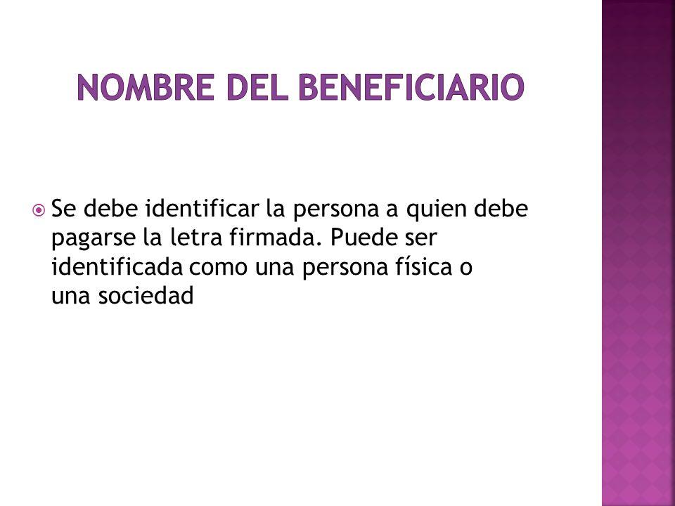 Nombre del Beneficiario