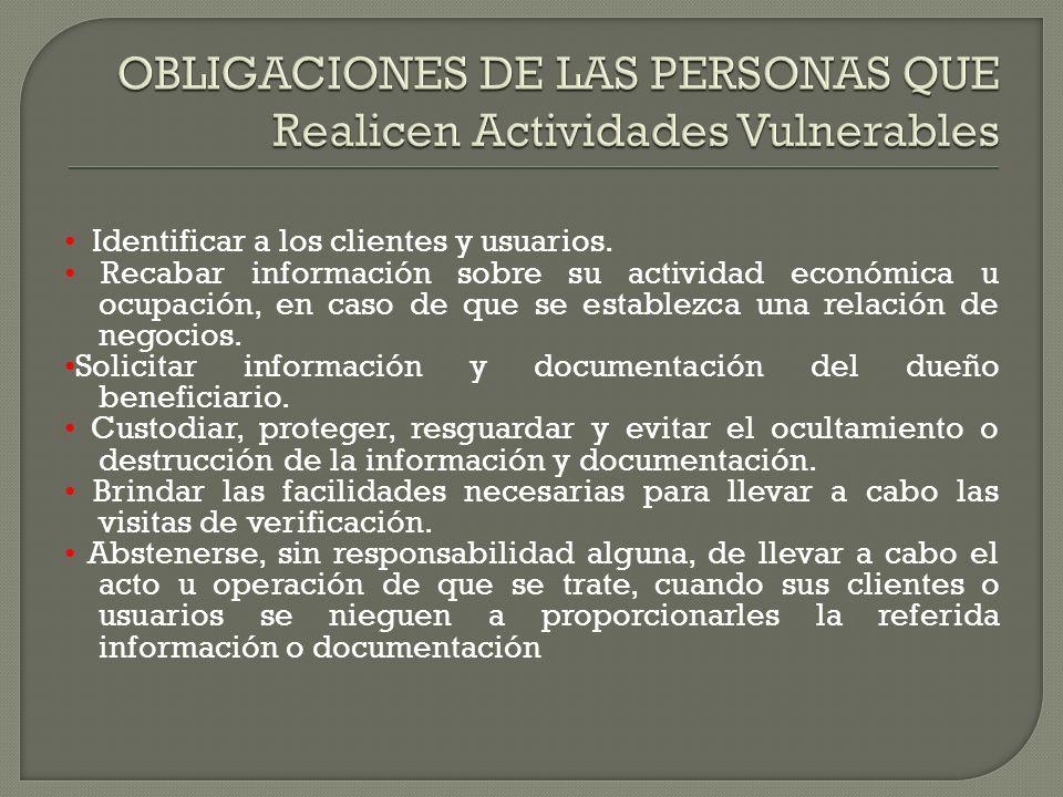 OBLIGACIONES DE LAS PERSONAS QUE Realicen Actividades Vulnerables