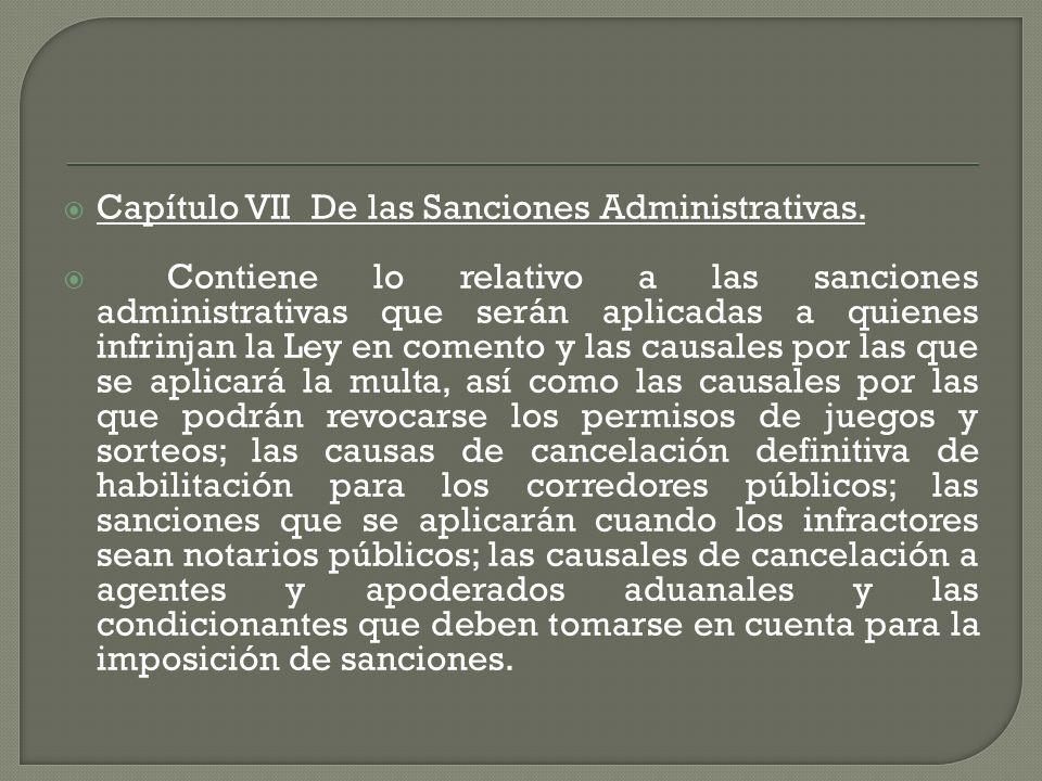 Capítulo VII De las Sanciones Administrativas.