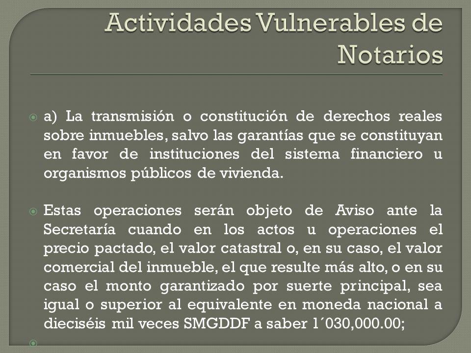 Actividades Vulnerables de Notarios
