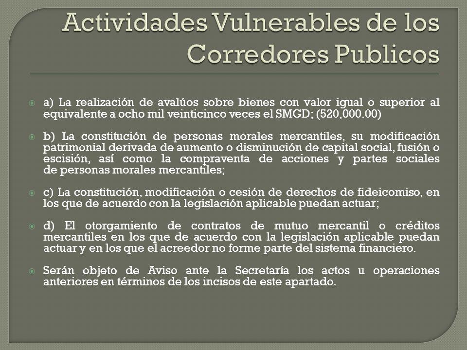 Actividades Vulnerables de los Corredores Publicos