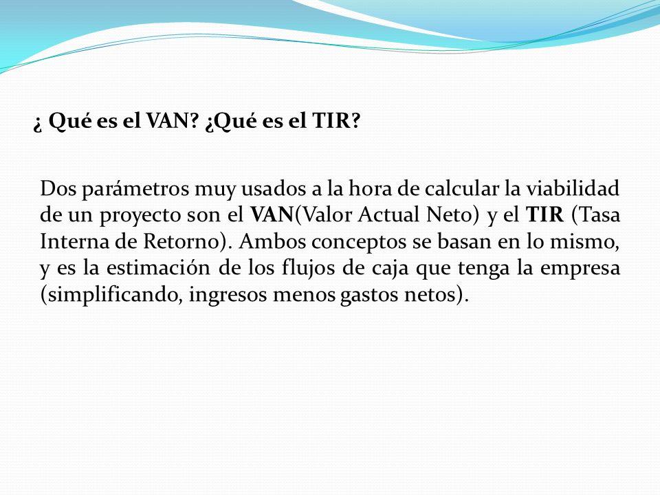 ¿ Qué es el VAN ¿Qué es el TIR