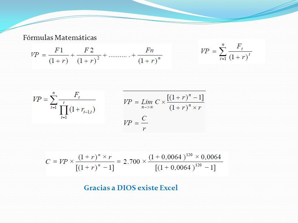 Fórmulas Matemáticas Gracias a DIOS existe Excel