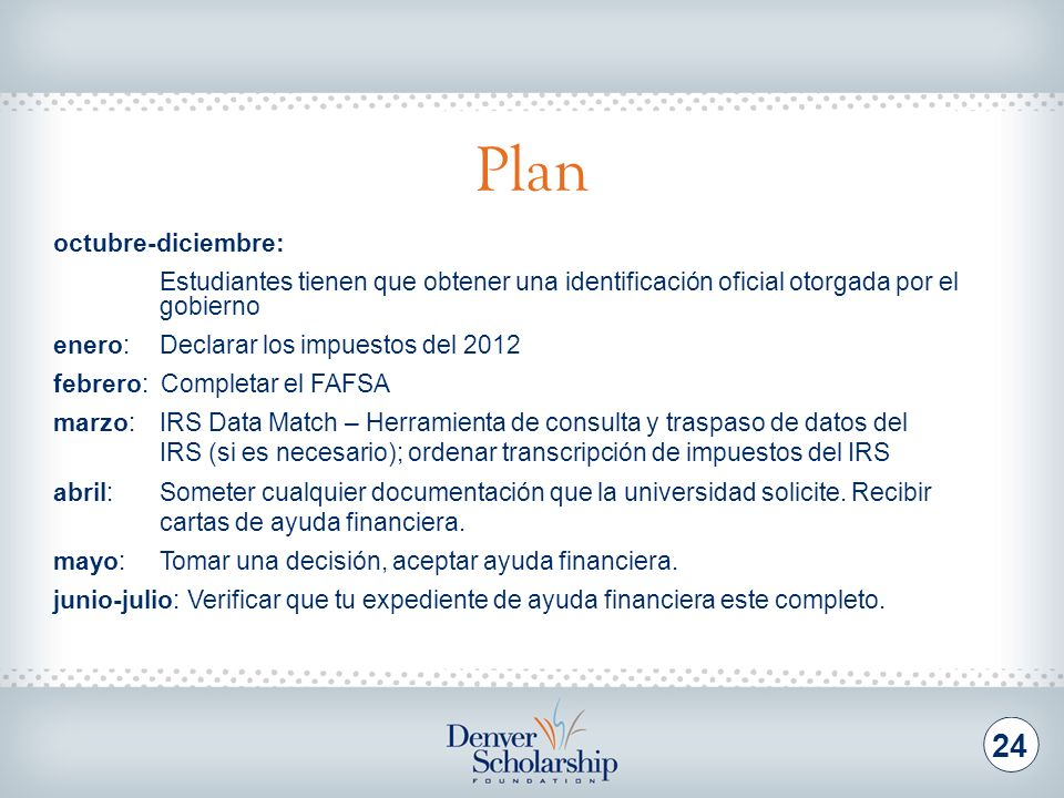 Recursos Disponibles Denver Scholarship Foundation
