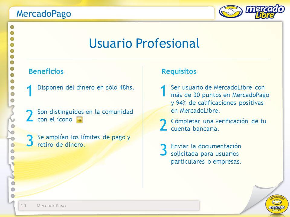 1 1 2 2 3 3 Usuario Profesional MercadoPago Beneficios Requisitos
