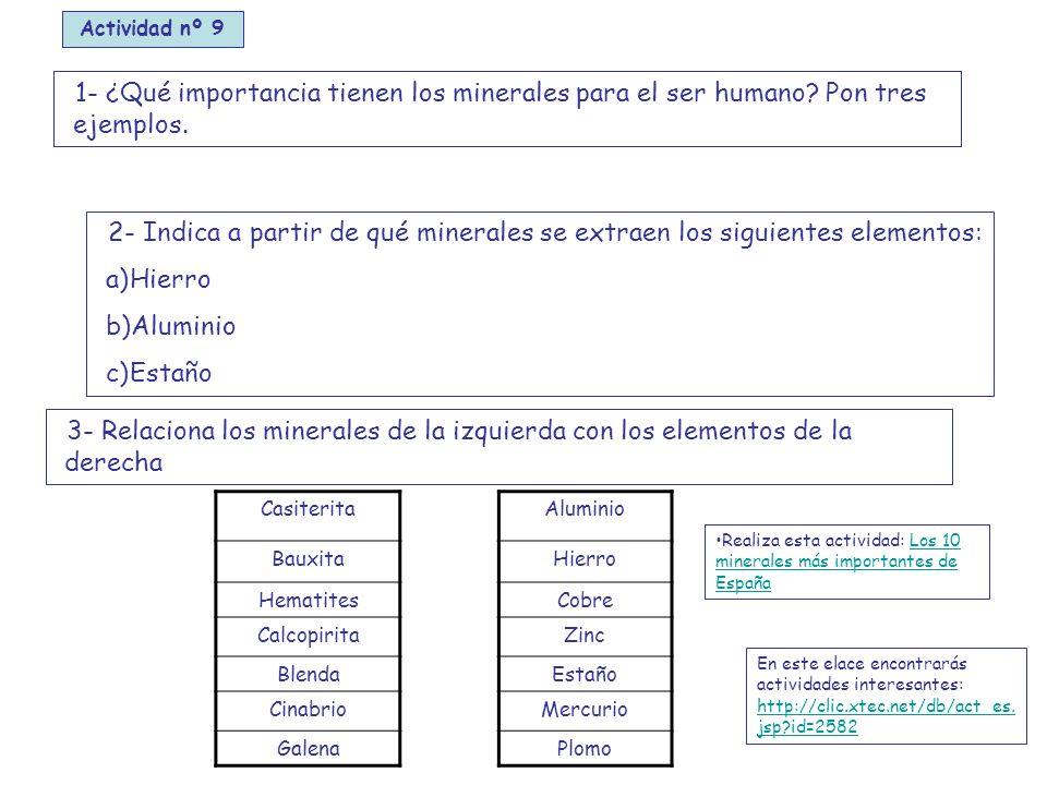 Actividad nº 9 1- ¿Qué importancia tienen los minerales para el ser humano Pon tres ejemplos.