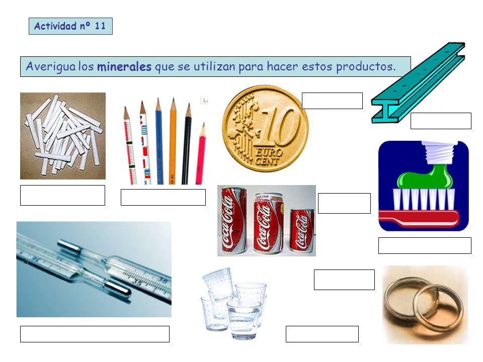 Averigua los minerales que se utilizan para hacer estos productos.