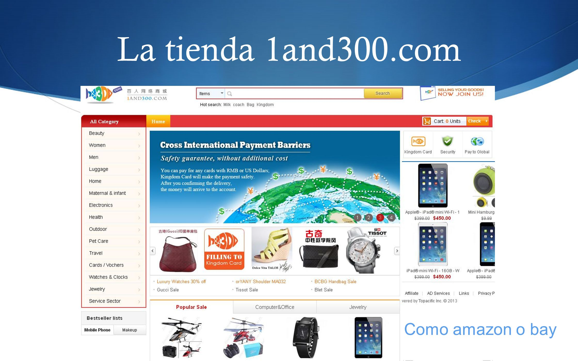 La tienda 1and300.com Como amazon o bay