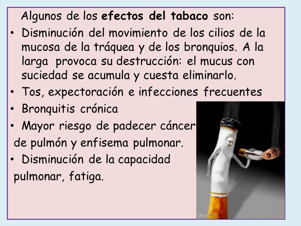 Algunos de los efectos del tabaco son: