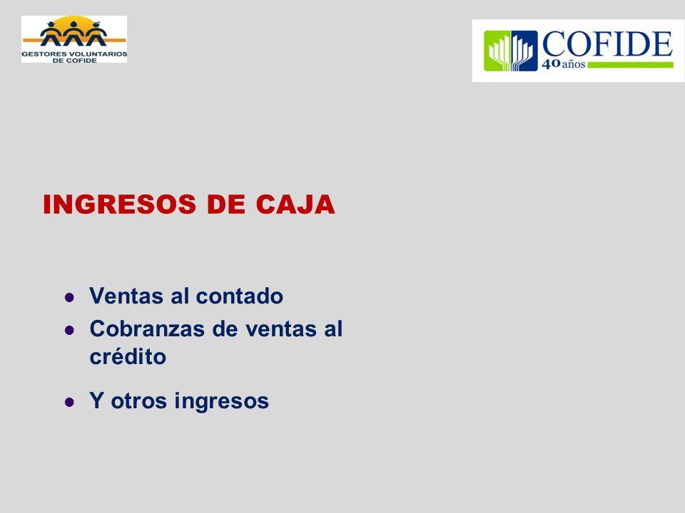 INGRESOS DE CAJA Ventas al contado Cobranzas de ventas al crédito