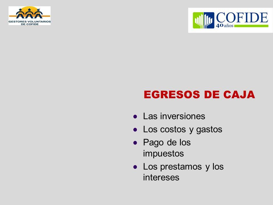 EGRESOS DE CAJA Las inversiones Los costos y gastos