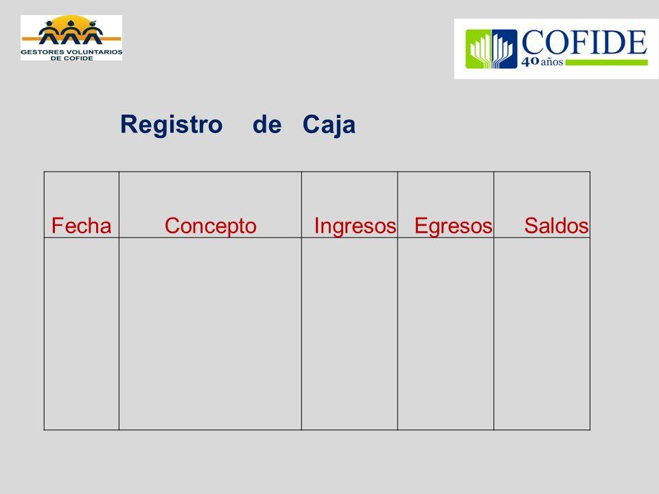 Registro de Caja Fecha Concepto Ingresos Egresos Saldos