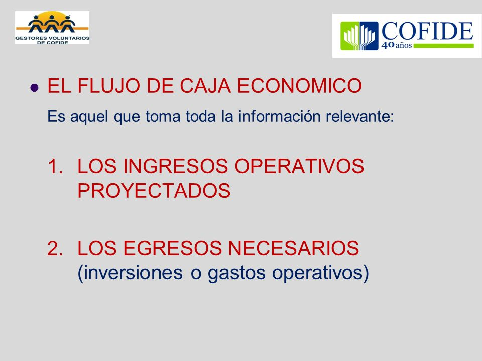 EL FLUJO DE CAJA ECONOMICO