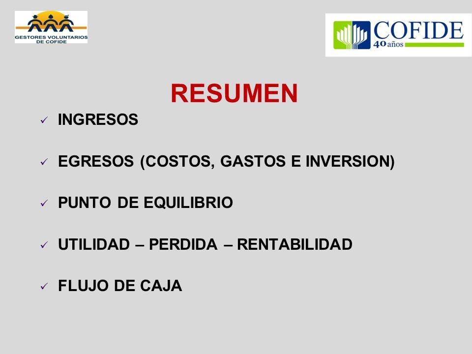 RESUMEN INGRESOS EGRESOS (COSTOS, GASTOS E INVERSION)