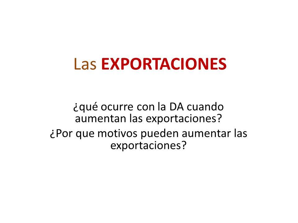 Las EXPORTACIONES ¿qué ocurre con la DA cuando aumentan las exportaciones.