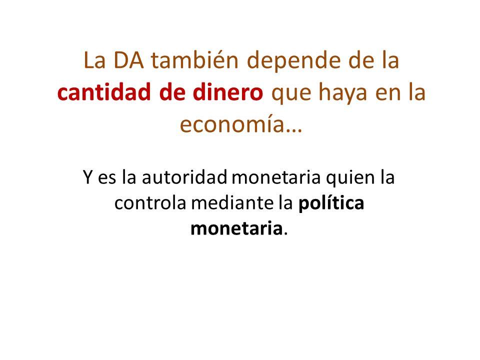La DA también depende de la cantidad de dinero que haya en la economía…