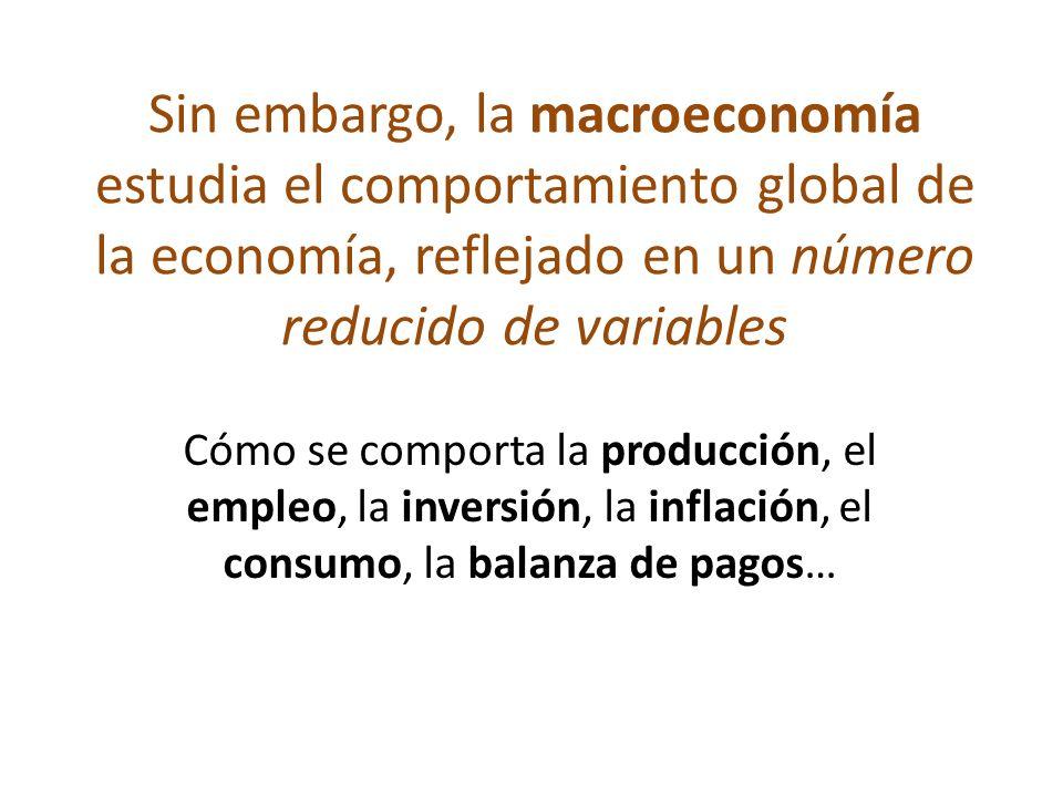 Sin embargo, la macroeconomía estudia el comportamiento global de la economía, reflejado en un número reducido de variables