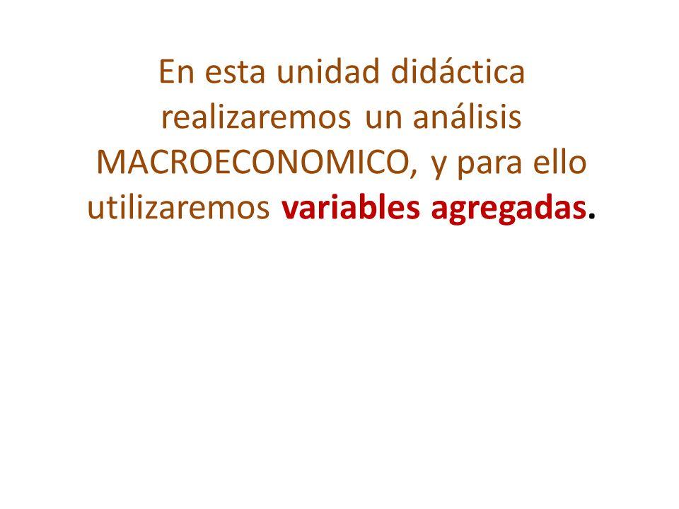 En esta unidad didáctica realizaremos un análisis MACROECONOMICO, y para ello utilizaremos variables agregadas.