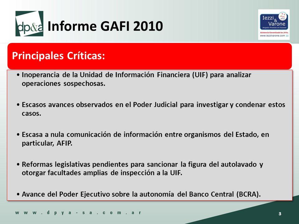 Informe GAFI 2010 Principales Críticas:
