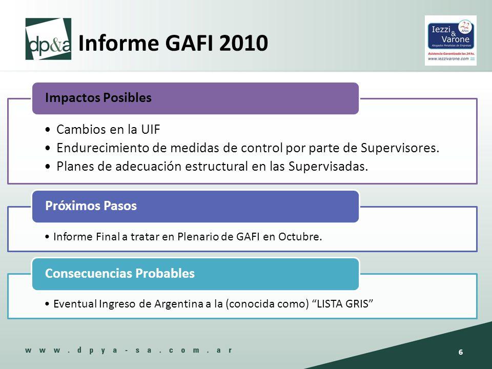Informe GAFI 2010 Cambios en la UIF