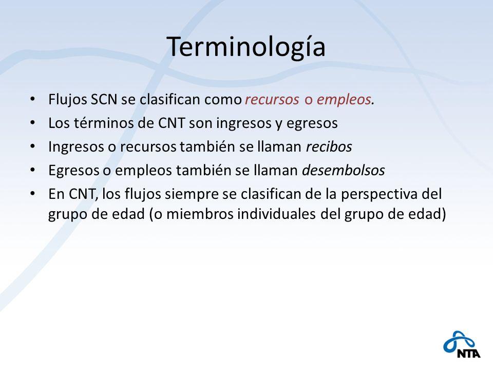 Terminología Flujos SCN se clasifican como recursos o empleos.