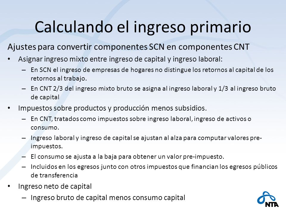 Calculando el ingreso primario