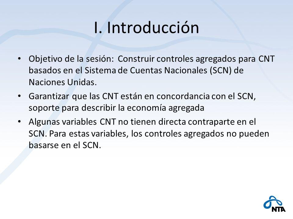 I. Introducción Objetivo de la sesión: Construir controles agregados para CNT basados en el Sistema de Cuentas Nacionales (SCN) de Naciones Unidas.