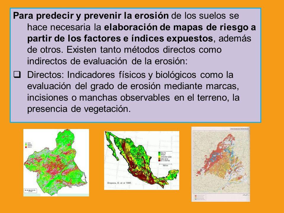 Para predecir y prevenir la erosión de los suelos se hace necesaria la elaboración de mapas de riesgo a partir de los factores e índices expuestos, además de otros. Existen tanto métodos directos como indirectos de evaluación de la erosión: